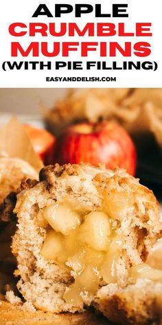 Apple Crumble Muffins filled with apple pie filling and topped with streusel and a vanilla glaze. They are soft and mildly sweet, making the perfect coffee time treat, snack, or breakfast. Apple Crumble Muffins, Apple Bars, Quick Side Dishes, Budget Meals, Apple Recipes, Easy Dinner Recipes, Delish, Food And Drink, Snacks