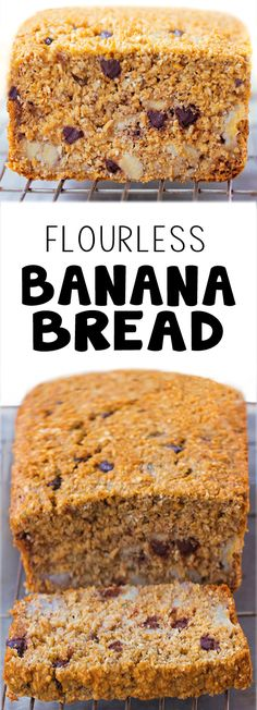A healthy flourless banana bread recipe that's perfect for breakfast or a healthy snack #bananabread #breakfast #brunch #healthysnack #vegan #glutenfree #oatmeal #chocolate #recipe #healthy #easy
