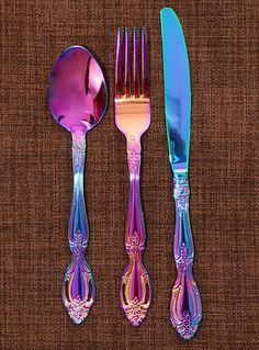 69 New Ideas For Piercing Nariz Aro Tornasol Kitchen Supplies, Kitchen Items, Kitchen Gadgets, Kitchen Decor, Rainbow Kitchen, Rainbow Metal, Flatware Set, Cutlery, Household Items