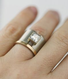 unique 14K gold wide band wedding ring princess by lolide on Etsy