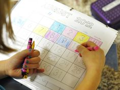 calendar binder    -this simple calendar printable seems like a good idea to use with your preschooler at home each morning