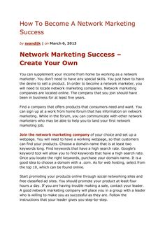 how-to-become-a-network-marketing-success by Sander van Dijk via Slideshare