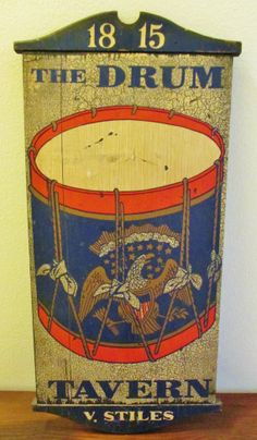 """Vintage Large Wooden Sign- """"The Drum Tavern 1815""""- Hand Painted Bar Sign by George Nathan & Associates of Rhode Island"""