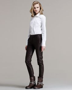 Piped Leather Trousers by Brunello Cucinelli at Bergdorf Goodman.