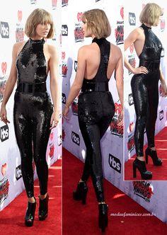 Jumpsuit Sequined Macacão preto lantejoulas Taylor Swift em premiação IHartRadio | http://modaefeminices.com.br/2016/12/26/kylie-jenner-repete-macacao-de-lantejoulas-usado-por-taylor-swift-em-premiacao/