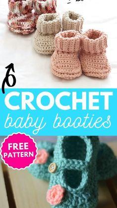 Crochet Wool, Booties Crochet, Crochet Slippers, Diy Crochet, Crochet Pattern, Crochet Baby Clothes, Crochet Baby Shoes, Small Crochet Gifts, Baby Booties Free Pattern
