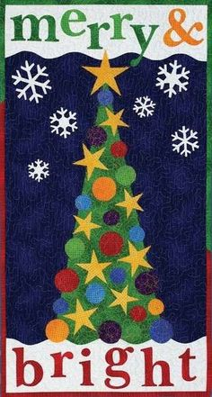 Quilt Pattern --Patrick Lose - Christmas Pattern Merry and Bright Tree - Door Banner or Wall hanging 16 x 30
