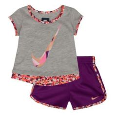 Nike Confetti Tee & Shorts Set - Toddler Girl - March 09 2019 at Toddler Girl Shoes, Toddler Girl Style, Baby Girl Shoes, Toddler Girl Outfits, Toddler Dress, Nike Outfits, Baby Outfits, Little Girl Outfits, Boys Clothes Style