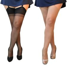 15 denier classic suspender stockings, for plus size ladies, team with a garter belt. Ladder resist stockings prevent holes and snags becoming ladders. Choose from natural, black, nearly black nylons. Available in 1 pair or 3 pair pack. Stocking Tops, Embarrassing Moments, Full Figured, Hosiery, Ladder, Beachwear, Tights, Stockings, Plus Size