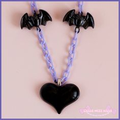 Black Heart  Bat necklace  creepy cute by LittleMizzKitty on Etsy, £5.00