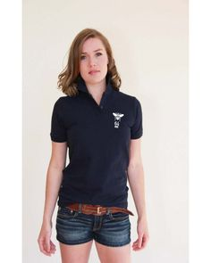 BEElieve in yourself navy, short sleeve piqué feminine fit polo-shirt Loose Goose Canada Believe, Canada, Navy Shorts, Polo Shirt, V Neck, T Shirts For Women, Tops, Quotes, Bee