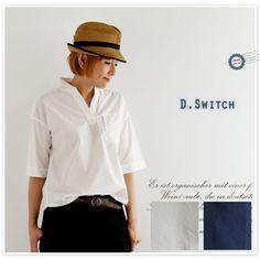 【D.SWITCH ディー.スイッチ】タイプライター スキッパーネック コットン 五分袖 ブラウス (031610)