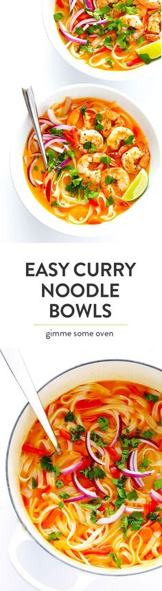 These comforting curry noodle bowls are easy to make with shrimp, chicken, tofu or your favorite protein.  Plus, they're full of great flavor, and naturally gluten-free. | Gimme Some Oven