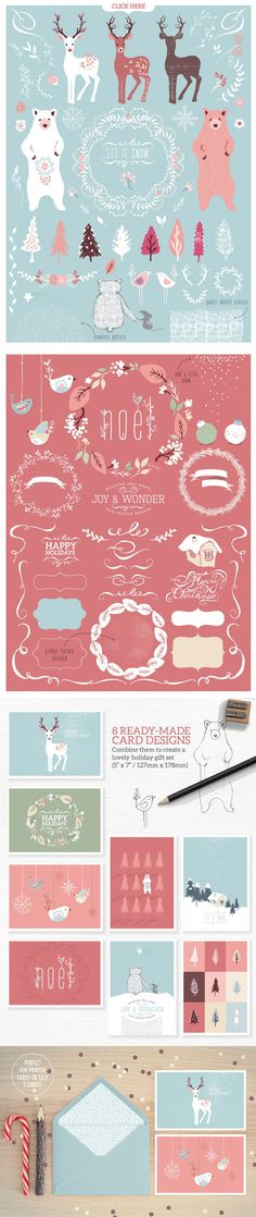 Designed to make your life a whole lot easier and save you a bunch of time in the process. With 95 elements included in this kit, you'll get pre-made card designs, Christmas wreaths, text decorating swirls, frames, adorable forest creatures and more, to help you whip up fast, beautiful Christmas creations.