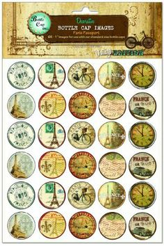"Bottle Cap Images, Paris Passport by Bottle Cap Inc.. $6.09. 65 images per sheet. Bottle cap images. 1 inch diameter. Our bottle cap images are made specifically for use in craft and jewelry projects. They are sized correctly to fit inside or on top of our bottle caps. Ready to be punched with a 1"" hole punch."