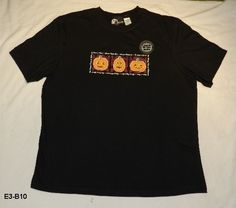 Holiday Editions Sz XL Black Halloween Tee Shirt NWT