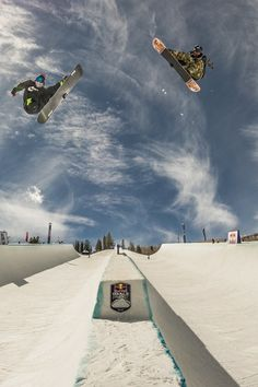 A pipe made for two in Aspen: Louie Vito and Scotty Lago in action on the awesome Red Bull Double Pipe.