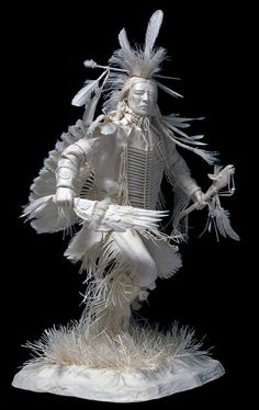 Sculptures of Native American scenes made out of paper by Allen and Patty Eckman