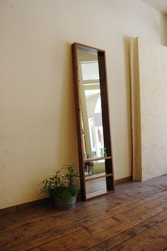 full length mirror with shelves - walnut frame