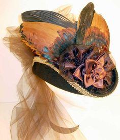 Ladies' Brown Derby Hat with Bronze-Gold-Iridescent Black-Brown Bird Wings