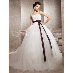 [USD $ 249.99] Ball Gown Sweetheart Tulle Chapel Train Wedding Dress inspired by Kate Huds in Bride Wars