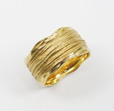 Textured wedding ring 14k yellow gold gr-1552. by WeddingRings585
