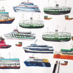 Hong Kong harbour ferries #boat #ferry #harbour #hongkong #illustration #drawing #wip #pencil #watercolour