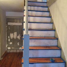 Our DIY Stair Makeover: Paint + Runner – Design*Sponge – Painting Stair Decor, Diy Stair, Beach Stairs, Paint Runner, Painting Old Furniture, Hardwood Stairs, Staircase Makeover, Condo Remodel, Painted Stairs