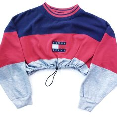 Reworked Tommy Stripe Crop Sweatshirt ❤ liked on Polyvore featuring tops, hoodies, sweatshirts, shirts, crop top, blue striped shirt, blue striped top, cut-out crop tops, drawstring shirt and blue top