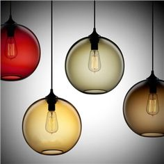 Ceiling Lights - Pendant Lights - 60W Modern Glass Pendant Light in Round Brown Bubble Design