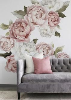 Make a bold statement in your nursery with peony wall decals from Project Nursery. These stunning peony flower wall decals are easy to apply and remove. Blush Peonies, White Peonies, Blush Pink, Flower Wall Decals, Vinyl Wall Decals, Wall Stickers, Rose Wallpaper, Wall Wallpaper, Project Nursery