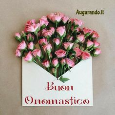 Le migliori immagini di buon onomastico entra! Name Day, Flower Arrangements, Floral Wreath, Happy Birthday, Birthday Ideas, Creations, Thankful, Cards, Gifts
