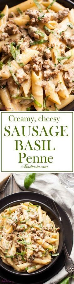 Creamy, Cheesy Sausage and Basil Penne is comfort food at its best. Advertisements Creamy, Cheesy Sausage and Basil Penne is comfort food at its best. Sausage Recipes, Pork Recipes, Casserole Recipes, Pasta Recipes, Dinner Recipes, Cooking Recipes, Healthy Recipes, Vegemite Recipes, Casseroles Healthy