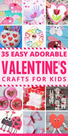 35 Adorable Valentine's Day Crafts For Kids - This Tiny Blue House 35 Valentine's Day Crafts For Kids that are easy to make and super fun. Add one or more of these adorable crafts to your holiday crafting to-do list! Toddler Valentine Crafts, Valentines Diy, Toddler Crafts, Toddler Activities, Creative Activities, Preschool Activities, Valentine's Day Crafts For Kids, Crafts To Make, Fun Crafts