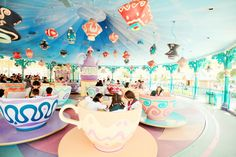 Tokyo Disneyland Tea Cups the first time I went their when I was 4 this was my number one fave ride :)