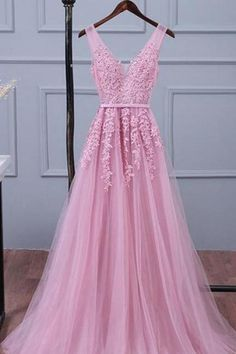 Simple Prom Dresses, pink tulle long v neck lace up customize prom dress long evening dress , From petite prom dress styles to plus size prom dresses, short dress to long dresses and more,all of the 2020 prom dresses styles you could possibly want! Prom Dresses Long Pink, Tulle Bridesmaid Dress, V Neck Prom Dresses, Prom Dresses Long With Sleeves, Dresses Short, Lace Evening Dresses, Cheap Prom Dresses, Prom Party Dresses, Elegant Dresses