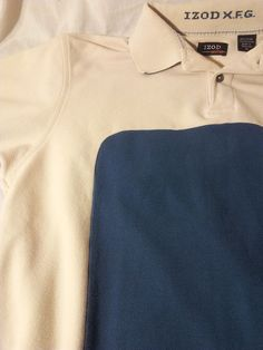 IZOD X.F.G. Polo Golf Shirt Size M Blue Cream White Sporting sports short sleeve #IZOD #PoloRugby