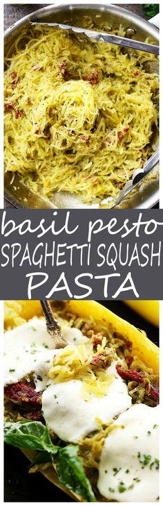 Basil Pesto Spaghetti Squash Pasta – An easy and healthy spaghetti squash pasta dinner tossed with basil pesto and sun dried tomatoes.