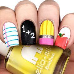 Nail Art Designs, Girls Nail Designs, School Nail Art, Back To School Nails, School Makeup, Cute Nail Art, Cute Nails, Pretty Nails, Teen Nails