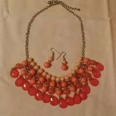 Vintage styled choker and earring set Multi orange toned layers Jewelry Necklaces