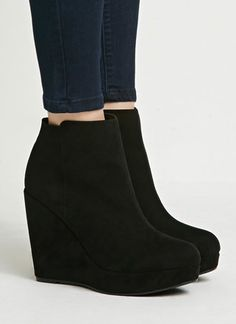 Faux Suede Wedge Booties // These faux suede booties are giving you leg for days with their wedge heel and platform sole. You'll love how easy you can pair these with shorts, jeans, and even dresses (they're that good).