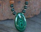 Malachite Sandalwood Mala  - One of a kind exquisite statement piece- Meditation Inspired Yoga Beads