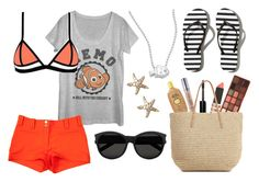 """""""Nemo Summer Disneybound"""" by motorbaby66 ❤ liked on Polyvore featuring Fifth Sun, Versace, Abercrombie & Fitch, Topshop, Annoushka, Yves Saint Laurent, Alex Woo, Bobbi Brown Cosmetics, Sun Bum and Urban Decay"""
