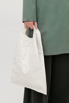 COS image 3 of Patent leather tote bag in Ivory 74326ee83e4