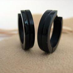 Jet Black Hoop Earrings for Men Men's Earrings by 360Jewels