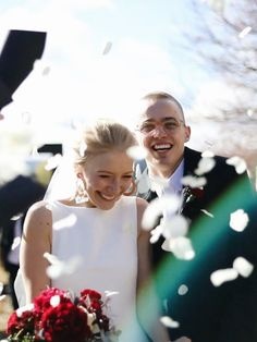 White rose confetti as the bride and groom come back down the isle in an outdoor winter wedding. Still from Wedding Film by The Honest Jones. Outdoor Winter Wedding, Wedding Film, White Roses, Confetti, Comebacks, Groom, Films, In This Moment, Weddings