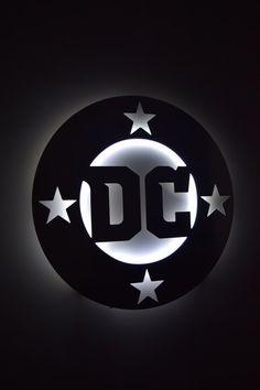 super popular 7a998 bcbcb DC Logo - LED Backlit Floating Metal Wall Art