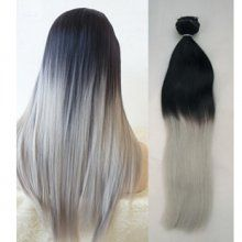 Black to Grey Colored Human Hair Clip in Hair Extensions OM038