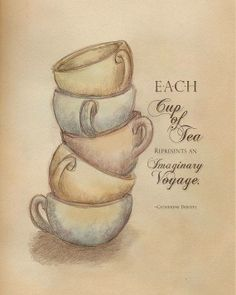Tea vintage typography print Imaginary Tea by hopscotchgraphics -- Sometimes a cup of tea is shared with a friend a book music an unfocused gaze out your window. -but each cup is a journey of sorts and that's a wonderful thing. Vintage Typography, Typography Prints, Vintage Logos, Retro Logos, Art Prints Quotes, Hand Lettering, Books And Tea, Tee Kunst, Cuppa Tea