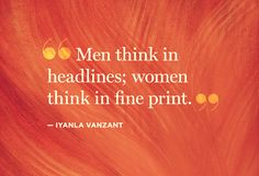 Men think topical, Women like details.  Decide what you want in life.  Engage as needed.